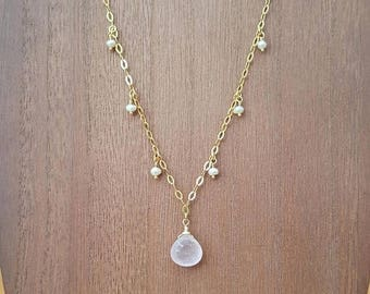15% OFF SALE Faceted Rose Quartz Briolette and Tiny Freshwater Pearls Drop Necklace 18K Gold Plated over 925 Sterling Silver / Gold Vermeil