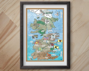 Westeros Map Art Print - Game of Thrones 5x7 Map