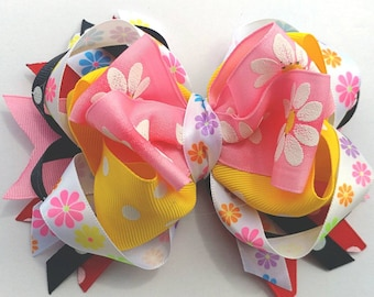 "OTT stacked boutique hairbow 5.5"" X 4"", handmade bow, XL bow, cheer bow, hot pink, flowers, yellow dots, summer ponytail, OOAK ready to ship"