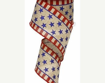 "SALE 2.5""x10yd Stars and Stripes ribbon RG01253H6, patriotic ribbon, American flag ribbon, flag ribbon, wreath ribbon, ribbon, Stars and Str"