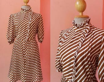 Summer Dress Vintage 1980s Dress 80s Dress Day Dress Casual Dresses Brown Striped Dress Mini Dress With Sleeve