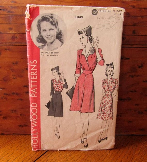 1940's Daytime Dress Sewing Pattern 1039 Hollywood With Barbara Britton of Paramount