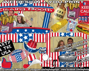 USA, Party in the USA, Instant Download, Printable Photo Props, Bumper USA party pack, Photo Prop Files, Party, Car, Kissing Booth, America