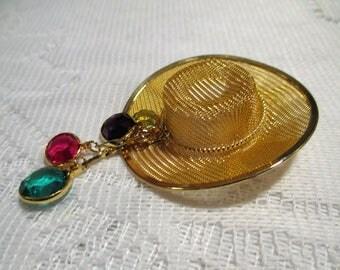 Cowboy Hat Brooch with Rhinestone Dangles, Mesh Gold tone Cowboy Hat Pin, Unique Vintage Cowboy Hat Brooch with dangling rhinestones