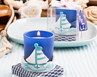 Sail Boat Votive Candle Holder - Beach Nautical Bridal Shower Party Favor 12-72 Qty  5485