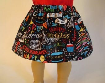Happy Birthday Skirt for American Girl Doll and 18-inch Dolls - Doll Birthday Party Skirt