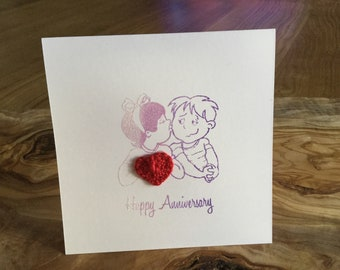"Hand made ""anniversary"" card with crochet heart"