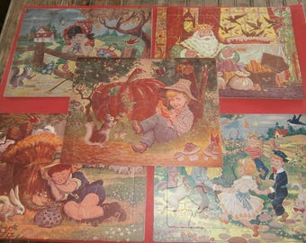 Vintage Nursery rhyme puzzles lot 5 Little Bo Peep King Midas Ring around the Rosey Little Boy Blue Peter pumpkin eater