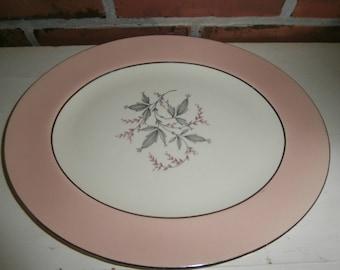 Vintage kitchen dishes Homer Laughlin cavalier springtime pink rim serving platter