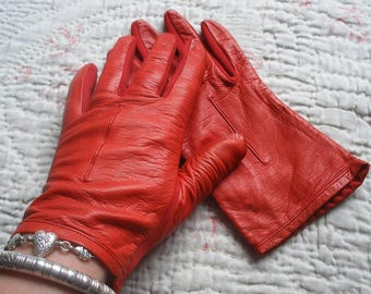 Vintage cherry red leather gloves