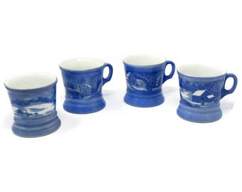 Currier and Ives The Old Homestead Mug Set - Blue Decorative Mugs - Coffee Tea Cups - Housewares Collectable Home Decor Cottage Chic