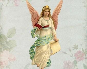 Angel Print, Girls Bedroom Art, Angel Wall Art, Angel Decor, Angel Art, Angel Wings, Vintage Angel Print, Feminine Decor