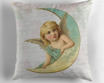 Angel Pillow, Angel Decor, Vintage Pillow, Vintage Cushion, Moon Pillow, Old Fashioned Decor, Shabby Chic Pillow, Botanical Flowers