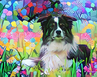 Border Collie Gift, Border Collie Art, Abstract Dog Art, Dog Print, Colorful Dog Art, Pet Owner Gift, Dog Portrait, Dog Owner Gift