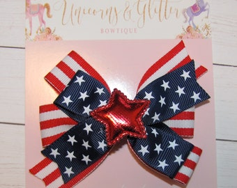 July 4th Hair Bow Set of Two Pigtail Bows, Stars and Stripes Hair Bow, Summer Hair Bow, Patriotic Hair Bow, Red White and Blue Hair Bow