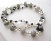 Three Strand Bracelet, Labradorite Bracelet, Neutral Colors, Wirewrapped Jewelry, Multistrand Bracelet, Moonstone Bezels