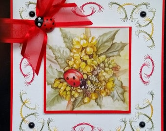 embroidered card, ladybug and flowers 2 picture