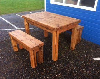 Chunky rustic reclaimed timber table with 2 benches waxed