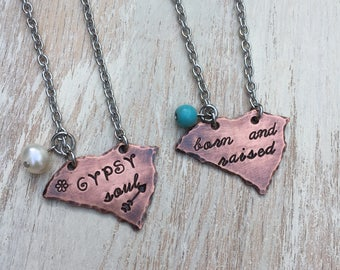 """South Carolina """"gypsy soul"""" or """"born & raised"""" Necklace Hand-stamped copper with stainless steel chain"""