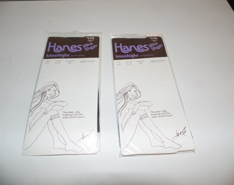 Vintage Hanes Ultra Sheer Kneehighs Nylon Sandalfoot Barely Black Lot of 2 Packages