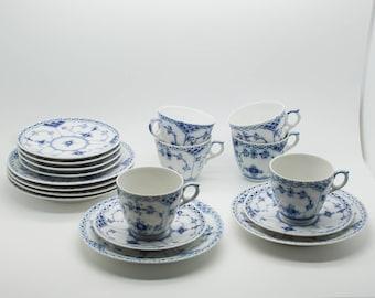 6 x Royal Copenhagen Blue FLUTED HALF LACE Coffee Sets Cups Saucers Dessert Plates Porcelain Danish Denmark