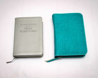 DELUXE Bible Cover Jehovah's Witness - Turquoise Leather New World Translation
