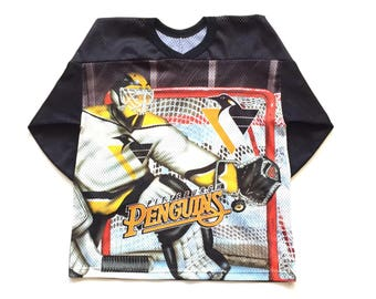 90s Pittsburg penguins jersey, all over print ccm throwback nhl hockey jersey, size L XL Boys youth kids unisex children activewear