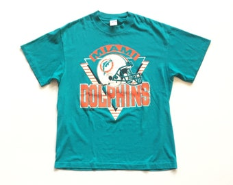 80s miami dolphins t shirt single stitch 90s vintage tee 50 50 cpttpn polyester trench brand size large