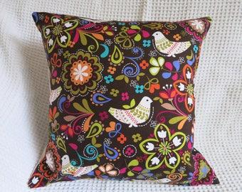 Norwegian birds cushion cover.  Hand made. Designer fabric,