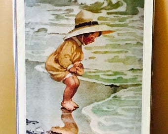 "Framed Jessie Wilcox Smith Lithograph, ""By The Sea"""