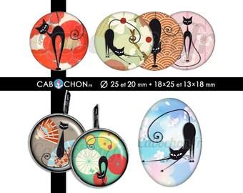Chat Noir Japon • 60 Images Digitales RONDES 25 et 20 mm OVALES 18x25 et 13x18 mm japan fleur eventail sakura washi cat cats chats origami
