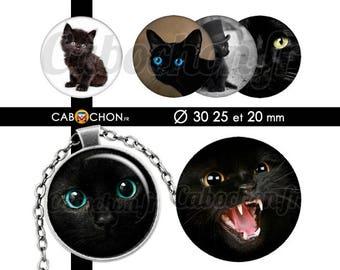 Chats Noirs • 45 Images Digitales RONDES 30 25 20 mm chat animal noir yeux pupilles mignon cute felin chapeau silhouette