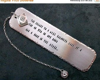 ON SALE Tea And Books Stamped Metal Bookmark