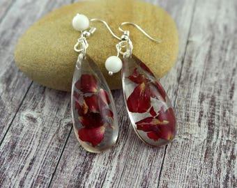 Resin earrings Long red earrings Floral earrings Red nature earrings Rose petal jewelry Red flower earrings Drop earrings earrings for her