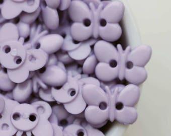 40pcs, 15 x 10mm, Light Purple Butterfly 2 holes Buttons