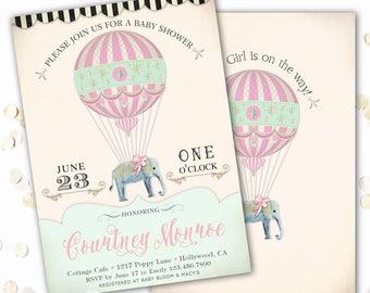 Elephant Baby Shower invitation, Elephant Shower Invite Girl, Hot Air Balloon, Elephant Themed Invitations, Printable or Printed invites