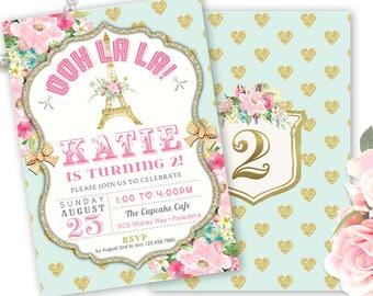 Paris Birthday Invitation, Paris Birthday Party Invite, Girl's 2nd, 3rd, 4th Birthday Any Age, French Theme, Eiffel Tower, Paris invitation