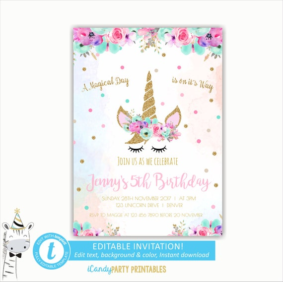 Unicorn birthday invitation unicorn head invite unicorn party il570xn stopboris Image collections