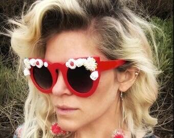 Red Embellished Sunglasses