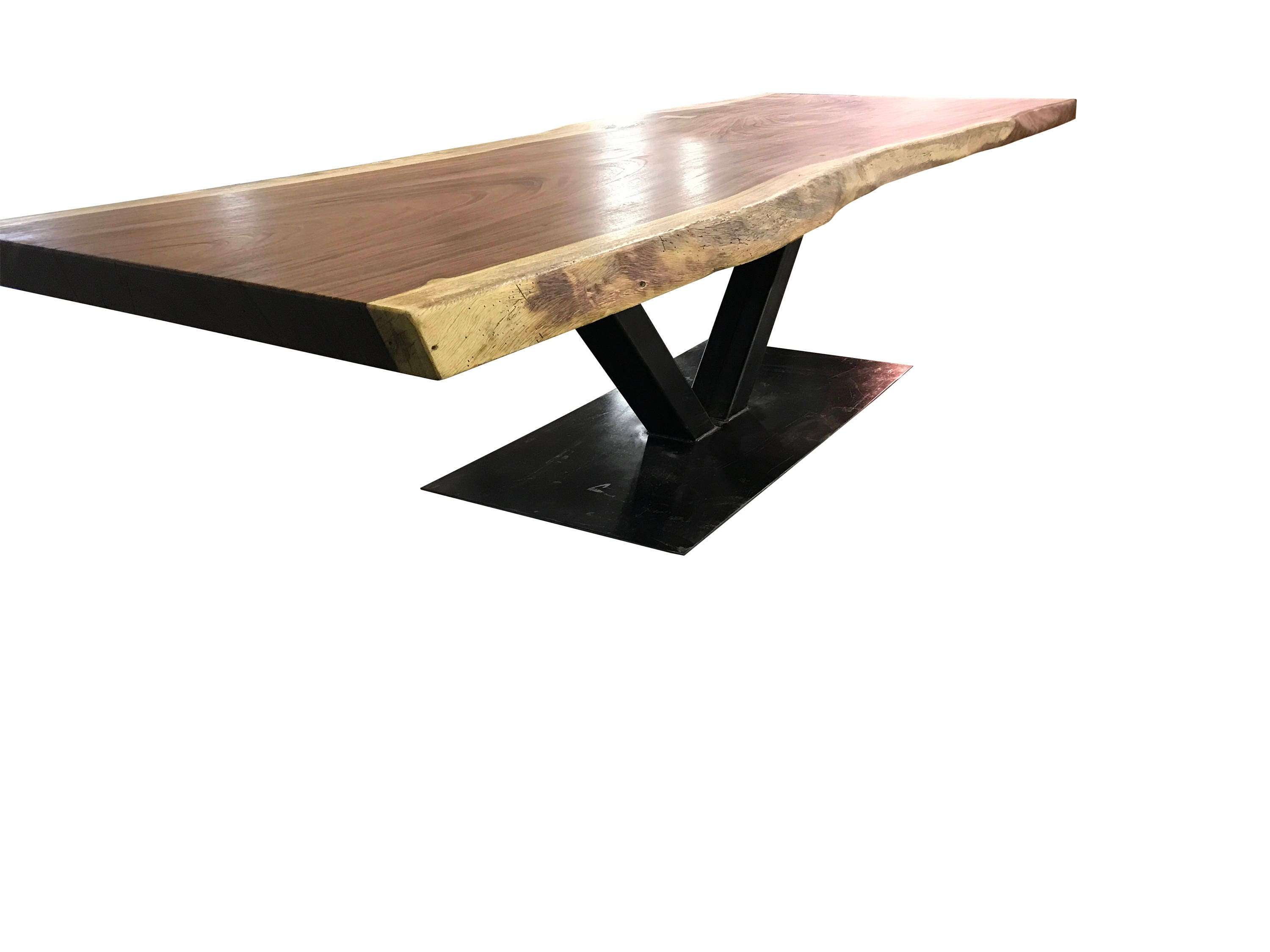 Live edge dining table Live edge with a hand crafted custom Steel Base,  unique dining