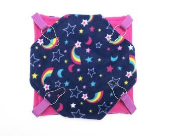 Small animal fleece double hammock - ferrets  rats sugar gliders guinea pigs - rainbows and stars - pink - bunked hammock - READY TO SHIP