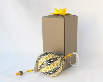Black & Yellow Badger Ornament, Handmade Paper Ornament