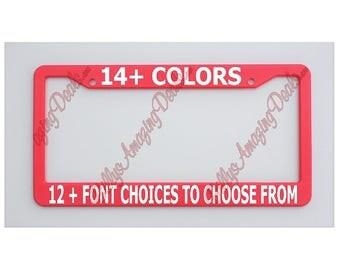 Custom Text Hot Pink License Plate Frame Plastic Tag Holder Personalize Customized Funny Vinyl Phrase Auto Car Accessories Funny You Choose