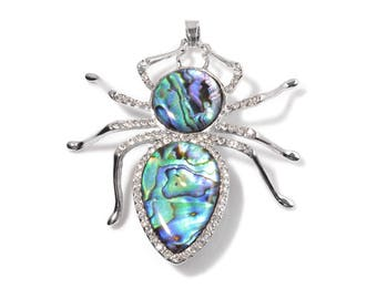 Spider Pendant Abalone Shell, Austrian Crystal Silver-tone Silver-Tone without Chain