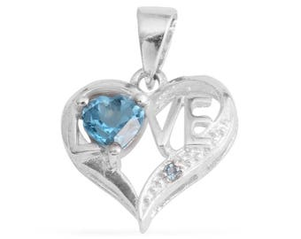 Love Pendant Simulated Blue Diamond CZ 5mm Heart Cut Silvertone Without Chain TGW 0.75 cts.