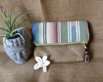 Striped Wool and Leather Clutch - genuine hand-dyed leather - green & blue stripes