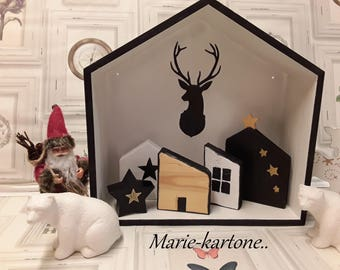"Shelf wood Deco mountain or Christmas home ""Home to the deer"" and its N 2 houses"