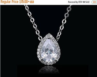 ON SALE Crystal teardrop bridal necklace, diamond bridal jewelry, wedding crystal necklace, Swarovski bridal necklace, bridesmaid necklace