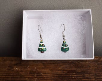 Cute Christmas tree earrings. Perfect gift idea just in time for the holidays