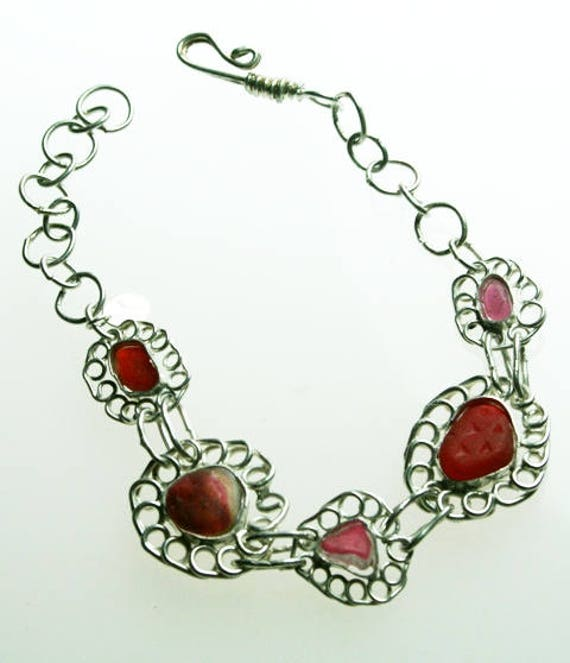 CLARET MULTI SEAGLASS Flower Bracelet - Set in Sterling silver